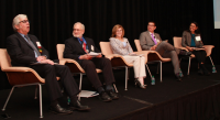 From left to right: Michael Villaire, MSLM (Moderator), Don Rubin, Ph.D., Catina O'Leary, Ph.D., Victor Wu, M.D, Doreena Wong