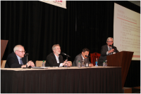 From left to right: Robert Logan, Ph.D, Michael Paasche-Orlow, M.D, Winston F. Wong, M.D., M.S, and Michael Villaire, MSLM (Moderator)